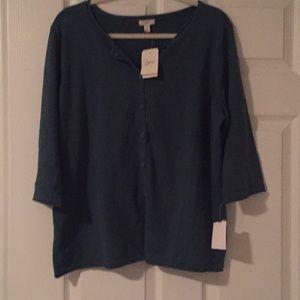 NWT j.jill sea green knit top size 1x